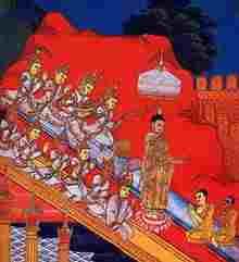 Buddha's descent from the TavatimsaHeaven