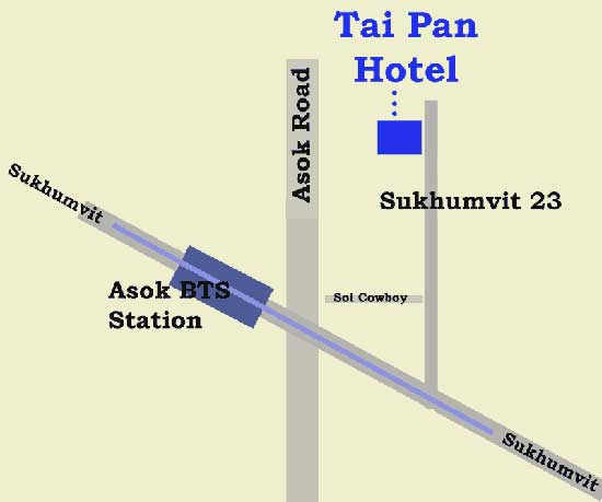 Map to Tai Pan Hotel - Sukhumvit 23